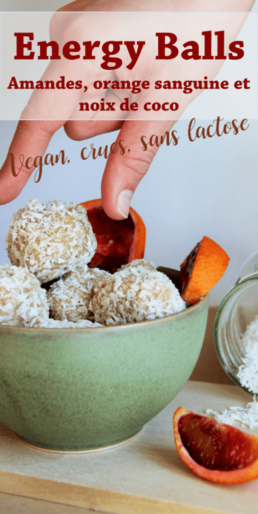 Energy balls vegan crues aux amandes, orange et noix de coco