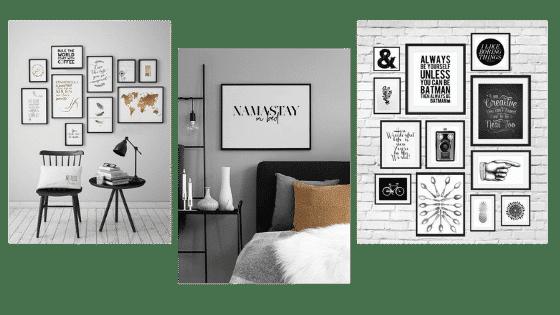 Décoration murale minimaliste avec des cadres de citations
